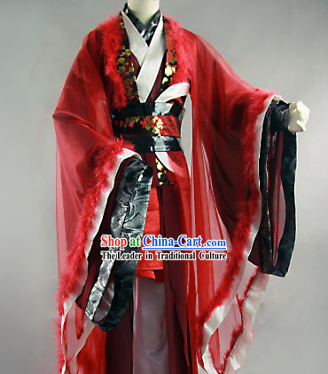 Traditional Ancient Chinese Red and Black Prince Clothes for Men