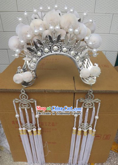 Traditional Peking Opera White Phoenix Coronet