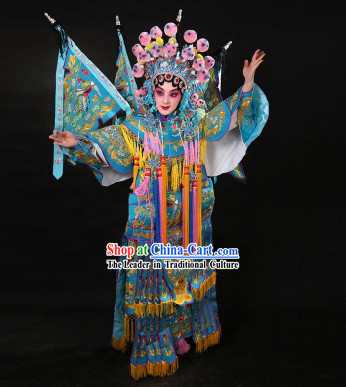 Ancient Chinese Female Warrior Mu Guiying Armor Da Kao Costumes and Hat
