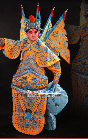 Traditional Chinese Opera General Hero Costumes and Hat