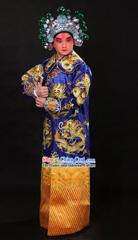 Blue Traditional Chinese Xue Pinggui Dragon Embroidery Jianyi Suit and Hat for Men
