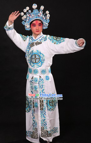 Traditional Chinese Wusheng Character Suit and Hat for Men