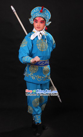 Blue Traditional Chinese Warrior Costume and Helmet