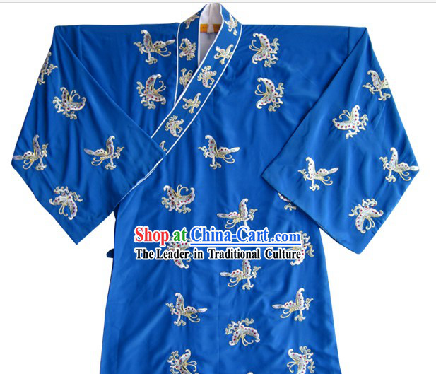 Blue Chinese Ancient Young Student Butterfly Embroidered Costumes and Hat for Men