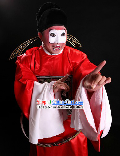 Red Chinese Ancient Official Costumes and Hat for Men