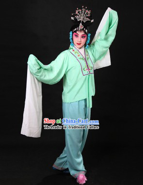 Traditional Chinese Light Green Beijing Opera Hua Dan Long Sleeves Practice Uniform