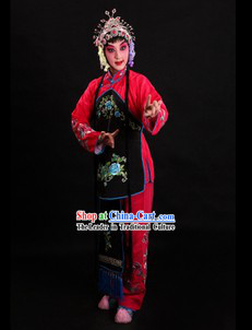 Traditional Chinese Red Stage Performance Waitress Costumes for Women
