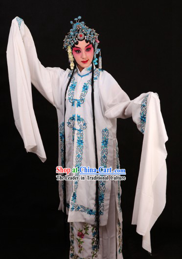 White Chinese Peking Opera Qingyi Costumes for Women