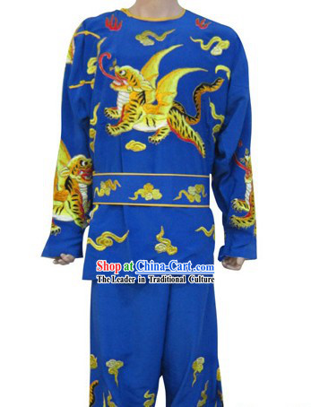 Ancient Chinese Opera Blue Solider Costume for Men