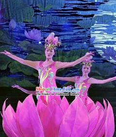 Pink Lotus Dream Dance Costume Headwear and Lotus Prop Complete Set