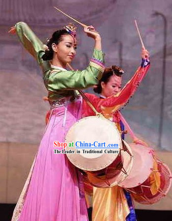 Korean Ethnic Long Drum Dance Costumes for Women