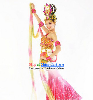 Apsaras Dancing Costumes and Headdress for Women