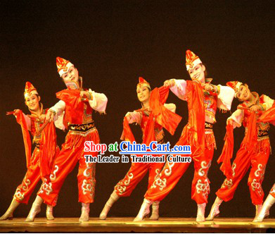 Chinese Riding on Horseback Dance Costumes and Hat for Women