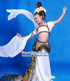 Ancient Chinese Fairy Dancing Costume and Wig for Children