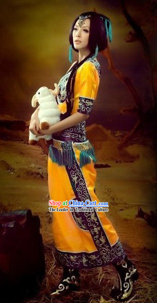 Mysterious Ancient Chinese Yellow Ethnic Clothes