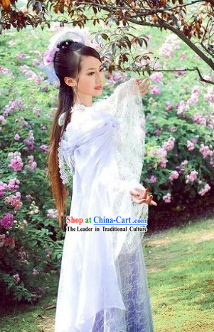 Ancient Chinese Fairy Wedding Dress and Headwear for Women