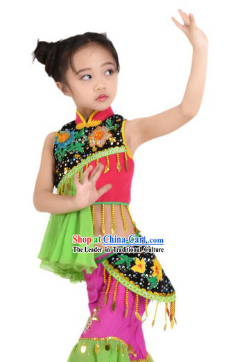 Traditional Chinese Hakka Dance Costume for Kids