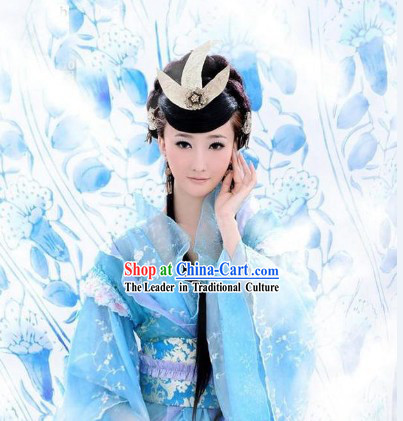 Chinese Ancient Skyblue Princess Guzhuang Costumes for Ladies