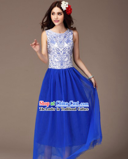 Blue and White Ceramics Style Mandarin Long Evening Dress