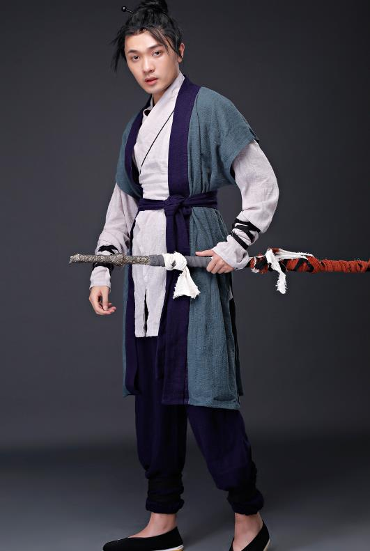 Traditional Chinese Knight Deep Blue Costume for Men