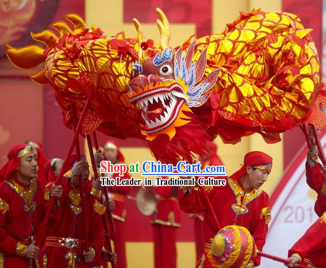 Red Gold Chinese Dragon Costumes Complete Set for 6 People