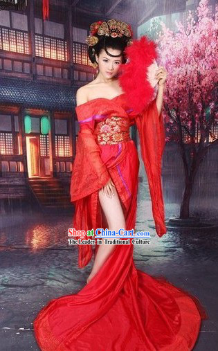 Ancient Chinese Guzhuang Style Costumes and Hair Accessories Complete Set
