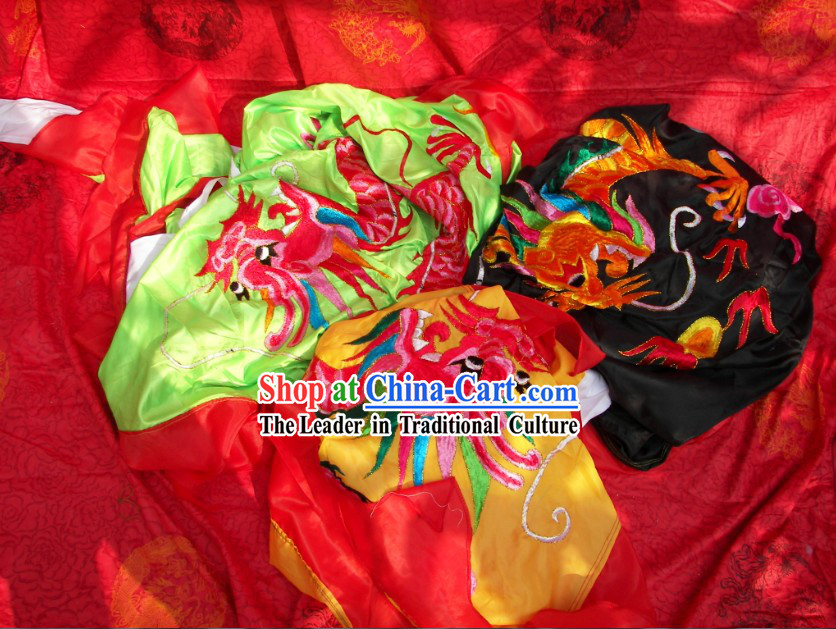 Three Sets of Super Big Chinese Embroidered Dragon Events Flag