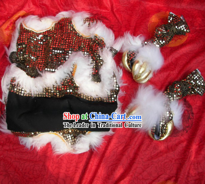 Black Sequins White Wool Chinese Festival Celebration Two Pairs of Lion Dance Pants and Shoes Covers