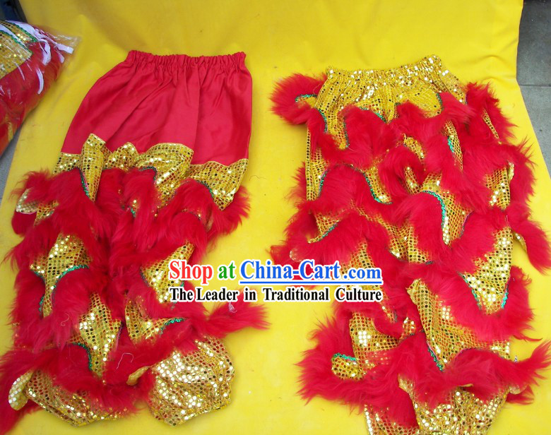 Red Wool Gold Sequins Top Quality Two Pairs of Lion Dance Pants and Claws