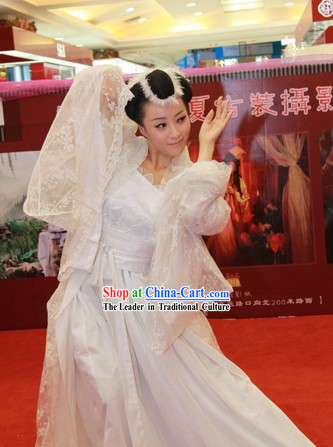 Supreme Chinese White Wedding Bride Veil Clothing
