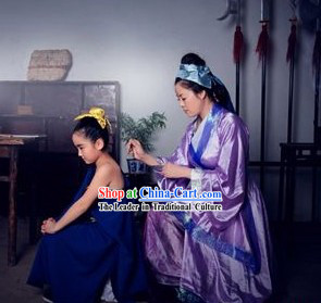 Ancient Chinese Song Dynasty Hero Yue Fei and His Mother Costumes Two Sets
