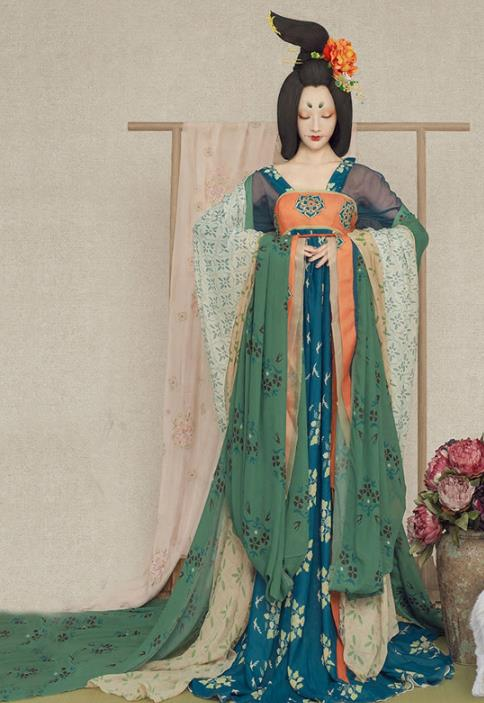 Ancient Chinese Blue Princess Outfit and Umbrella Complete Set