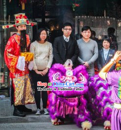 Purple Color Famous Brand Mall Opening Lion Head and Body Dance Costumes Complete Set