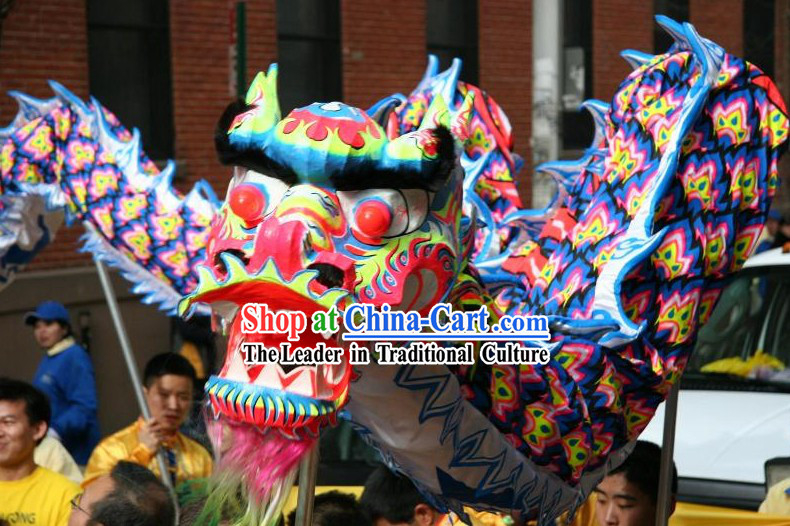 Blue Color Supreme Chinese Lunar New Year Celebration Luminated Dragon Dance Costumes Full Set