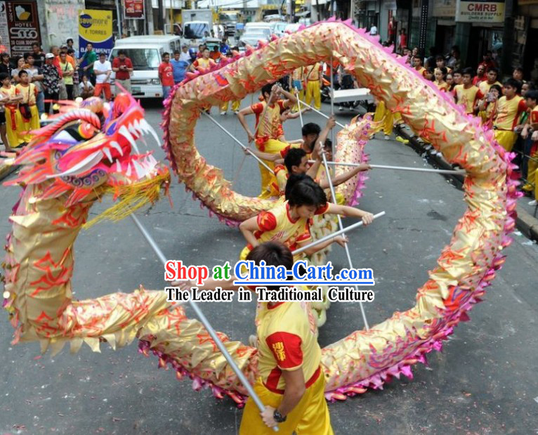 Luminated Gold Festival Celebration Chinese Dragon Dancing Costumes Complete Set