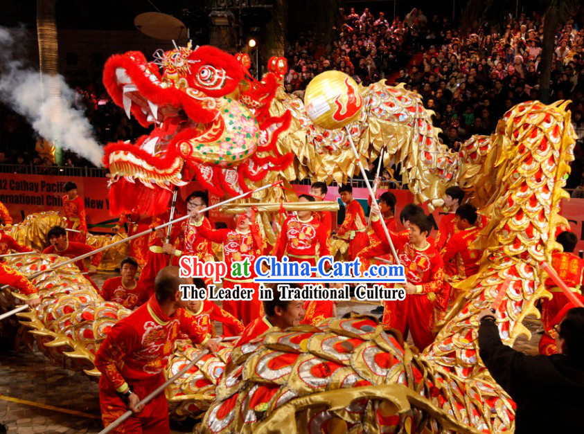Supreme Best Red Chinese New Year Parade Long Wool Dragon Dance Equipments Complete Set