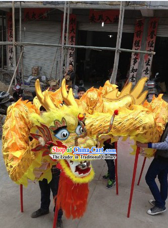 Traditional Handmade Festival Celebration Gold Dragon Dance Costumes Complete Set