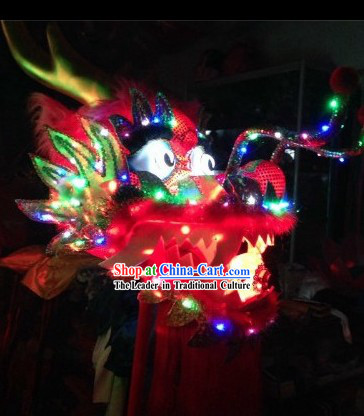 LED Luminous Flame Red Chinese Dragon Dance Head