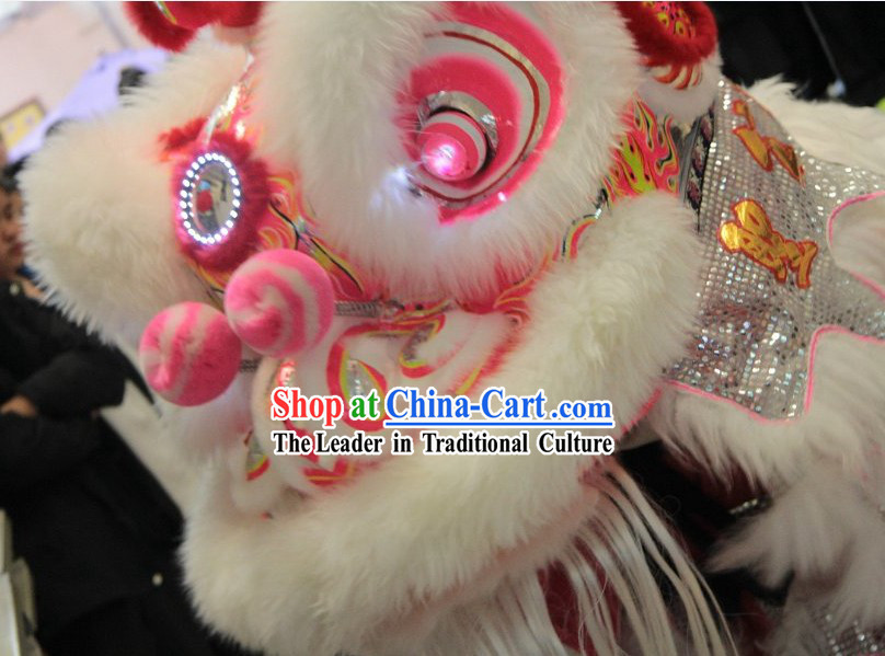 Chinese Classic Lovely White Lion Dance Costumes Set