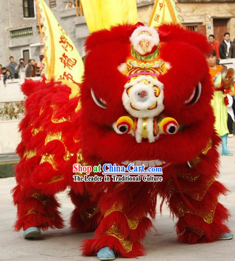 Supreme Red and Gold Competition and Performance Lion Dance Costumes Full Set