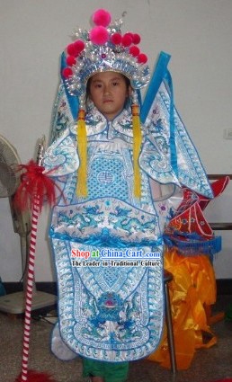 Chinese Beijing Opera Armor Costumes and Helmet for Kids
