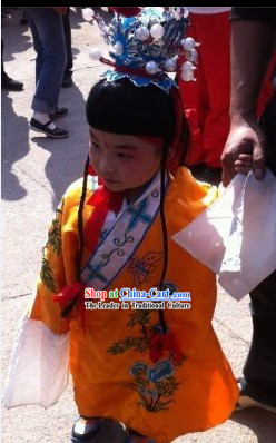 Traditional Chinese Beijing Opera Costume and Hat for Children