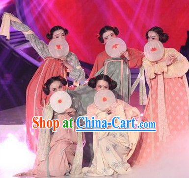 Ancient China Tang Dynasty Lady Dresses and Fan Complete Set