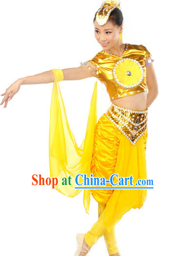 Dunhuang Drum Dance Costumes and Headwear Full Set