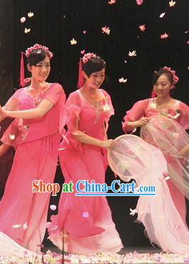 Classical Peach Flower Dance Costume and Headwear Full Set for Women
