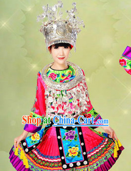 Chinese Folk Miao Dance Costumes and Hat Full Set for Women