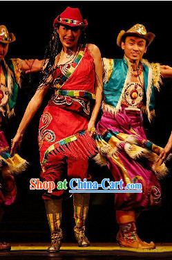 Tibetan Dancing Costume and Headdress Full Set for Men