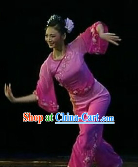 Traditional Asian Dance Costumes and Headwear Complete Set for Women