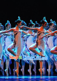 Professional Classical Group Dancing Costume and Headwear Complete Set for Women