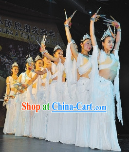 Guanyin Dance Costumes and Headdress Complete Set for Women